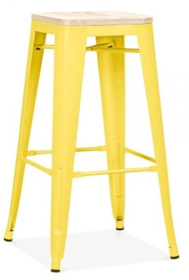 Xavier Pauchard High Stool With A Yellow Finish And Wiooden Seat 1