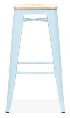Xadvier Pauchard Stool In Pastel Blue With A Wooden Seat 2