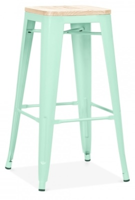 Xavier Pauchard Stool In Peppermint With A Wooden Seat 2