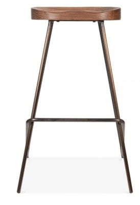 Cadiz High Stool With A Wooden Seat And Ghun Metal Frame 2