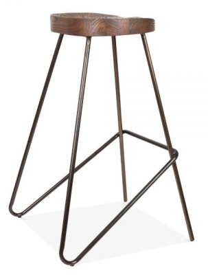 Cadiz Industrial Stool With A Gun Metal Frame Anmd Wooden Seat 4