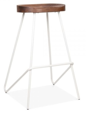 Cadiz High Stool With A White Frame And Wooden Seat 1
