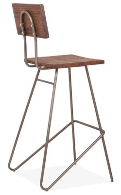 Urban Hairpin High Stool With A Gun Metal Finish Rear Angle