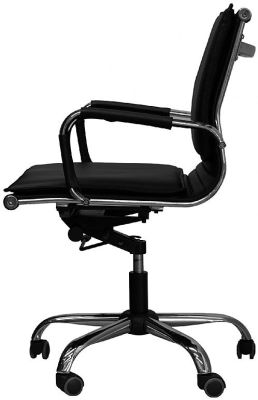 Encore Black Leather Chair Side Angle