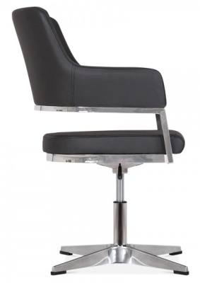 Polar Chair In Black Leather Side View