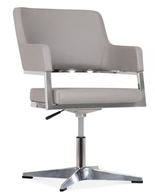 Solar Grey Leather Conference Chair Front Angle