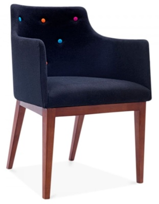 Jolly Designer Armchair In Bklack Front Angle View