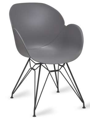 Mackie Pyramid Armchair With A Grey Shell And Black Frame