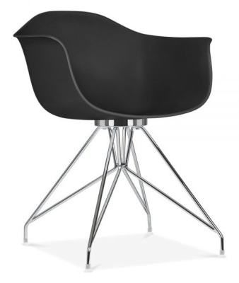 Memot Designer Chair With A Black Shell And Chrome Frame Angle View