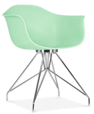 Memot Deisgner Chair With A Pastel Green Shell Front Angle