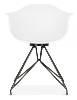 Memot Chair With A White Shell And Black Frame Front View