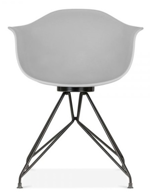 Memot Chair Witha Grey Shell And Black Frame Face Shot