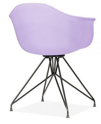 Memot Chair Lavender Shell And Black Frame Rear Angle