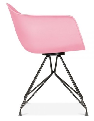 Memot Chair With A Pink Shall And Black Frame Side View