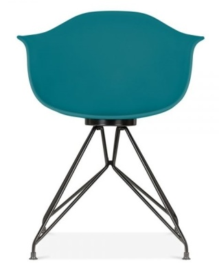 Memot Chair With A Teal Shell And Black Frame Front View