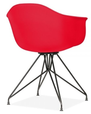 Memot Chair With A Red Shell And Black Frame Rear Angle