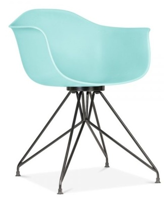 Memot Chair With A Pastel Blue Shell And Black Frame Front Angle