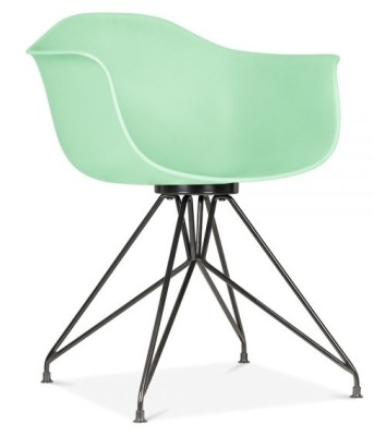 Memot Chair With A Pastel Green Shell And Black Frame Front Angle