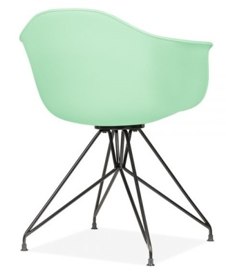 Memot Chair With A Pastel Green Shell And Black Frame Rear Angle View
