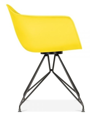 Memot Chair With A Yellow Shell And Black Frame Side View