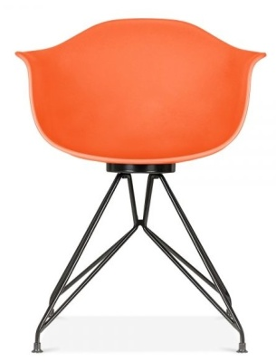 Memot Chair With And Orange Shell And Black Frame Front View