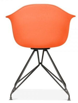 Memot Chair With An Orange Shell And Black Frame Rear View