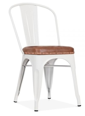 Xavier Pauchard White Chair With A Brown Leather Seat