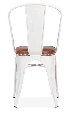 Xavier Pauchard White Chair With Bown Leather Seart Rear View