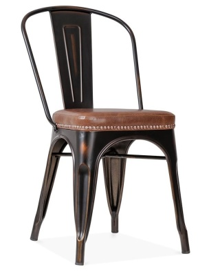 Xavier Pauchard Chair In Distressed Copper With A Brown Leather Seat Front Angle