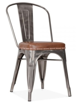 Xavier Pauchard Side Chair In Gun Metal With A Brown Leather Seat Front Angle