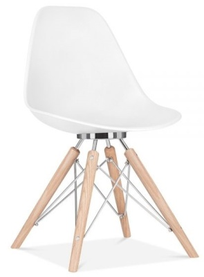Ancona Designer Chair White Shell Front Angle