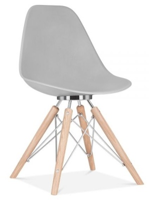 Acona Chair With A Grey Shell Front Angle