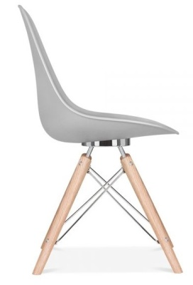 Acona Designer Chair With A Grey Shell Side View