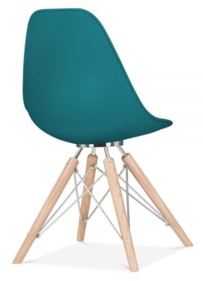 Acona Chair Teal Shell Rear Angle View