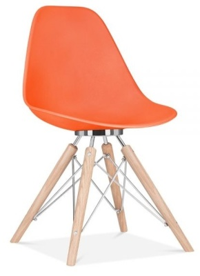 Acona Chair Orange Shell Front Angle