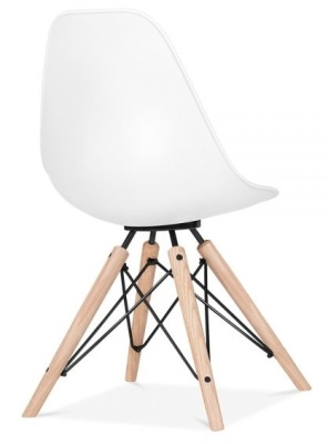 Antona Chair In White With A Black Frame Rear Angle