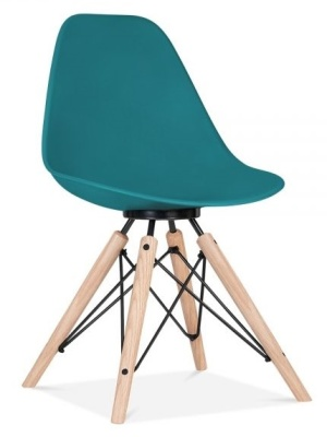 Antona Chair In Teal With A Black Frame Front Angle