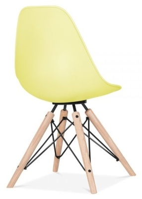 Antona Chair Lemon Shell And Black Frame Rear Angle