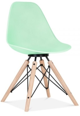Antona Chair Pastel Green With A Black Frame Front Angle