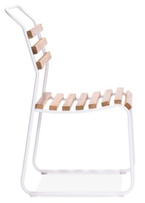 Bauhaus Slat Chair With A White Frame Side View