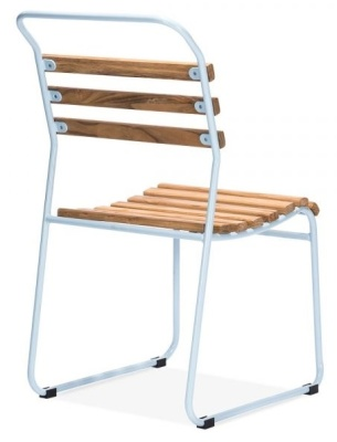 Bauhaus Slat Chair With A Light Blue Frame Rear Angle View