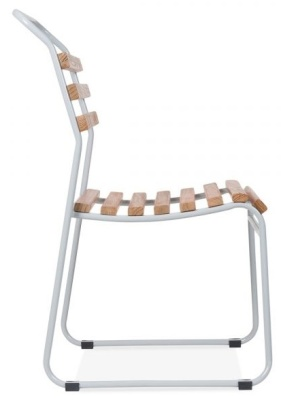 Bauhaus Slat Chair With A Light Grey Frame Fronm The Side