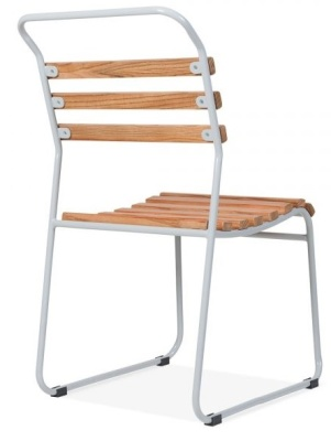 Bauhaus Chair Wit A Light Grey Frame Rear Angle