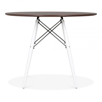 Eames Inspired Dsw Table With A Walnut Top And White Legs 2