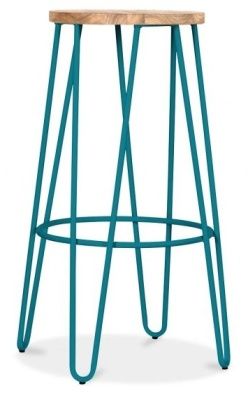 Hairpin Stool With A Teal Finish