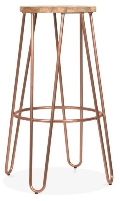 Hairpin Stool With A Vintage Copper Frame 1