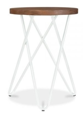 Hairpin Cross Style Low Stool With A White Frame