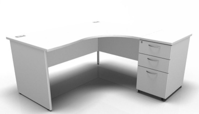 Stellar Right Hand Corner Desk And Desk Height Pedestal In White