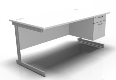 Stellar Pedestal Desk In White