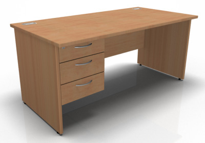 Stellar Rectangular Pedestal Desk With Penel Sides In Beech
